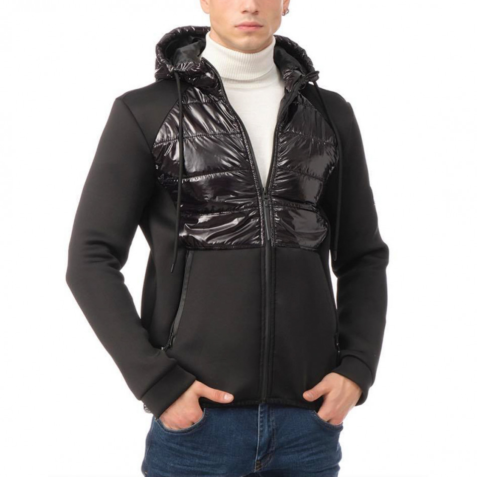Комбинирано мъжко яке черен контраст tr131120-9