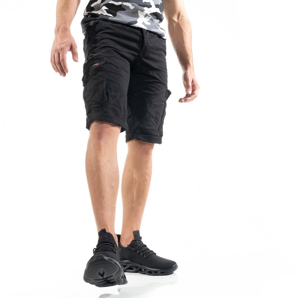 Мъжки черни  къси карго панталони tr140520-13