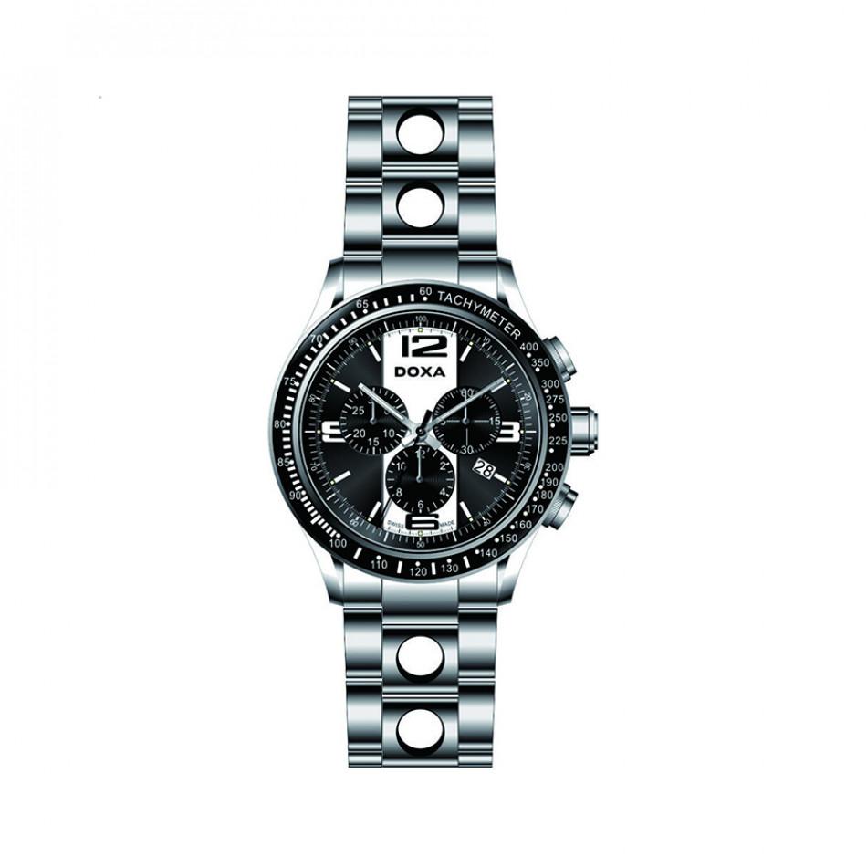 Мъжки часовник DOXA Trofeo сребрист браслет с черен циферблат 2851026310