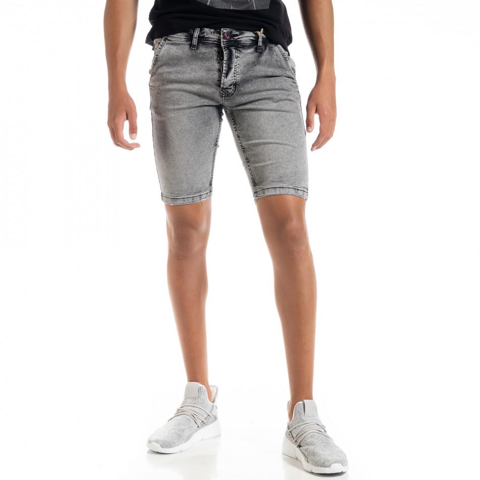Slim fit мъжки сиви къси дънки tr010720-16