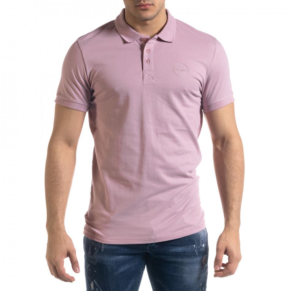 Basic мъжка розова тениска Polo shirt tr110320-74