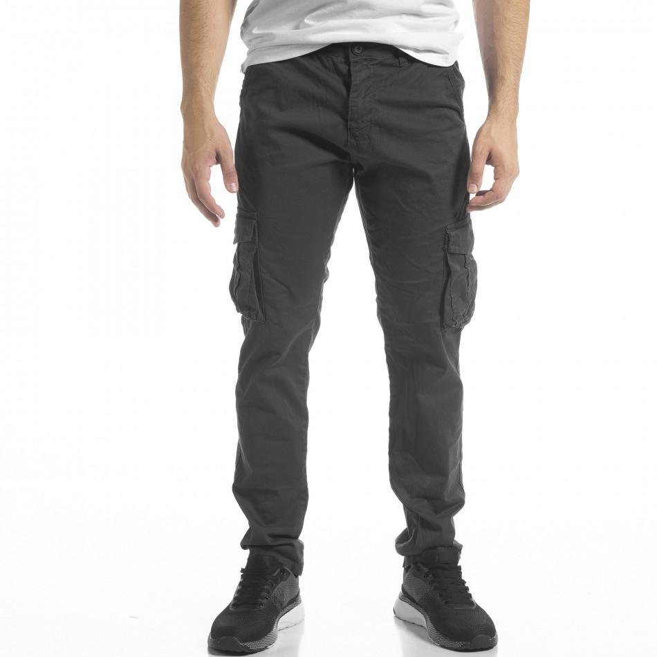 Сив мъжки панталон Cargo с прави крачоли tr240420-28