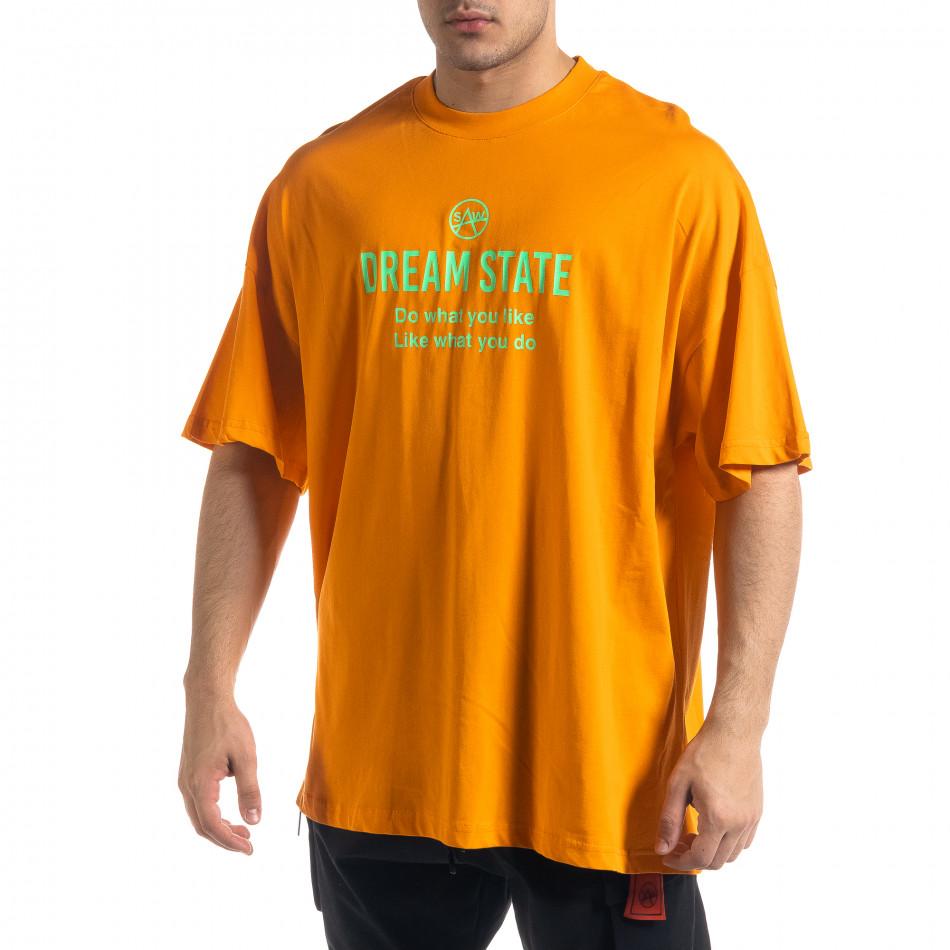 Super Oversize мъжка тениска в оранжево tr110320-1