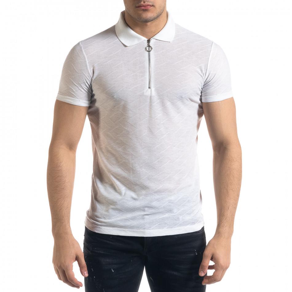 Slim fit бяла мъжка тениска с яка и цип tr110320-21