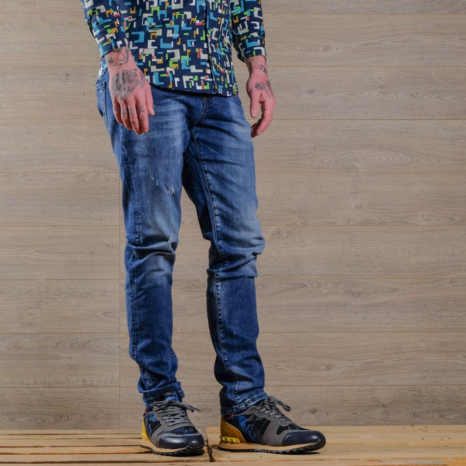 Slim fit мъжки изтъркани дънки в синьо tr030420-4