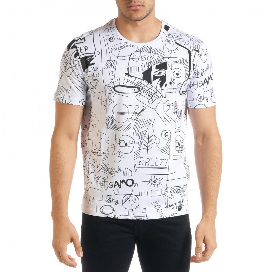 Мъжка бяла тениска с принт Naivety tr080520-14