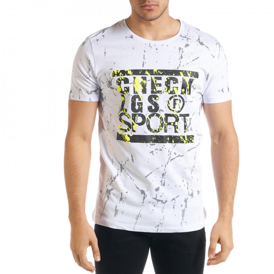Мъжка бяла тениска с принт Splash tr080520-19