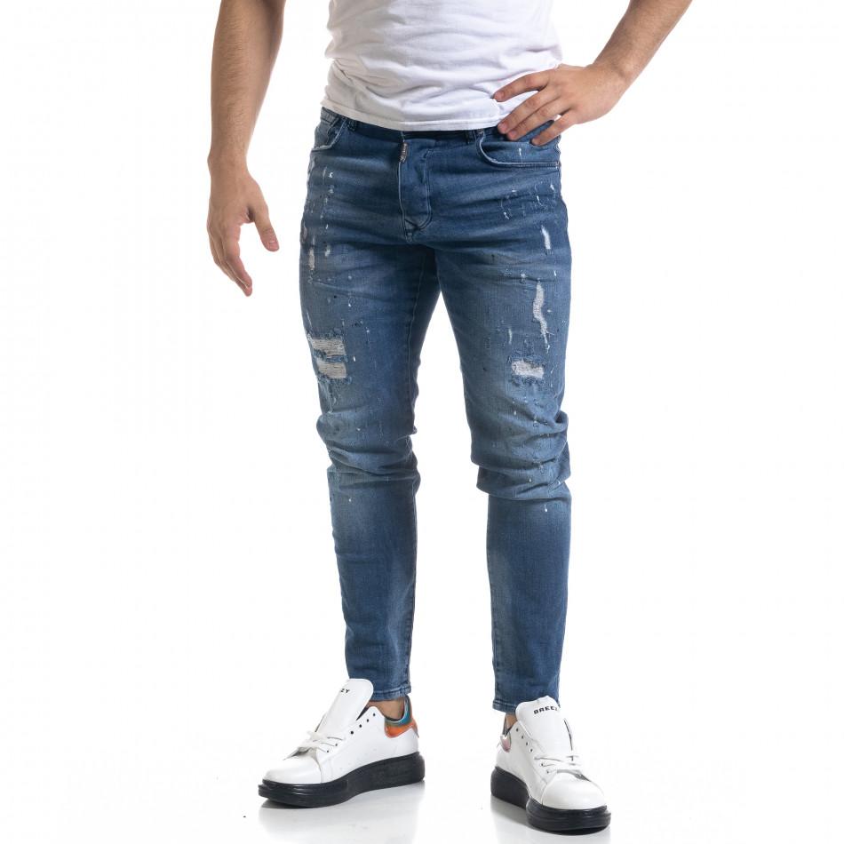 Мъжки сини дънки Slim fit с акценти tr110320-110