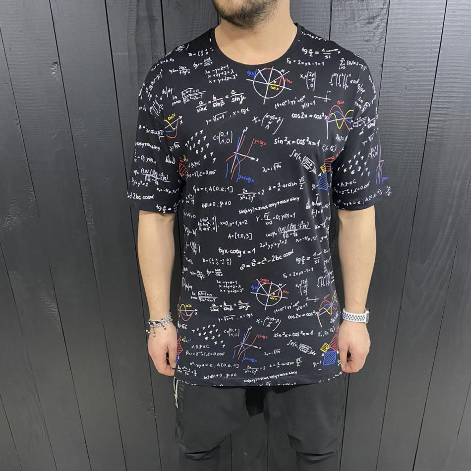 Мъжка черна тениска принт Maths tr110320-85