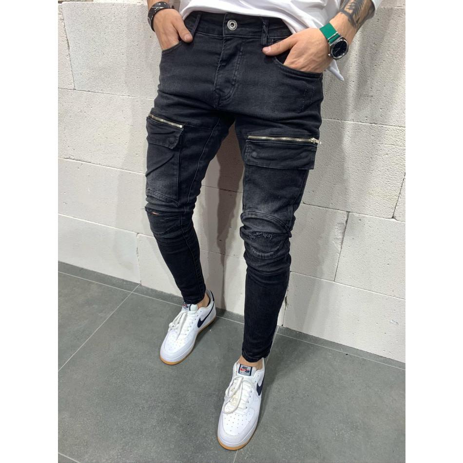 Destroyed Slim fit мъжки черни дънки с джобове tr110320-117