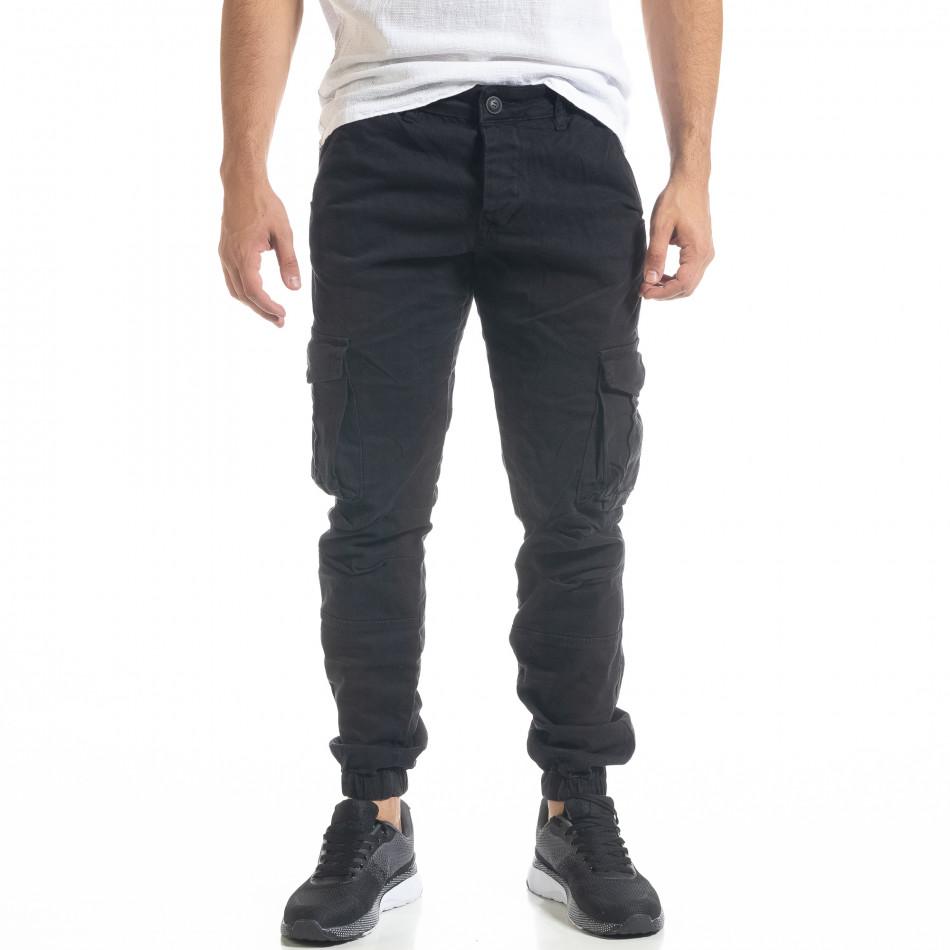 Мъжки черен карго панталон с ластик на крачолите tr240420-30