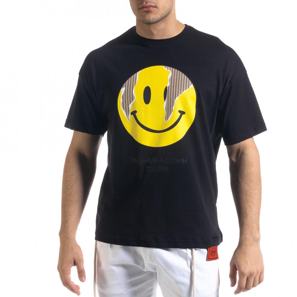 Черна мъжка тениска Emoticon Oversize tr110320-5