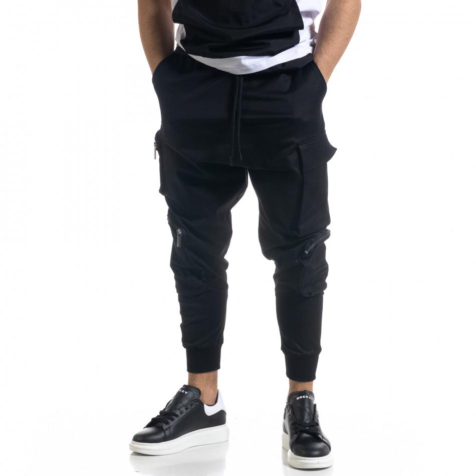 Мъжки еластичен панталон с обемни джобове tr110320-134