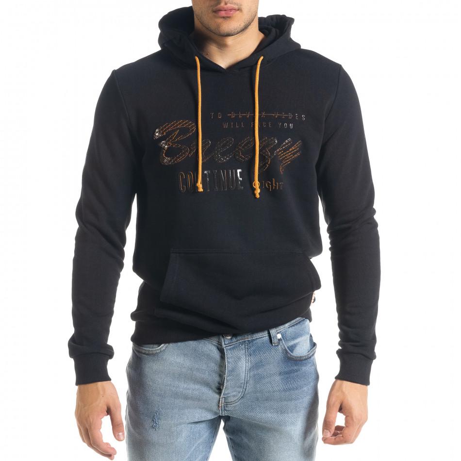 Мъжки черен суичър с гумиран принт tr240420-17