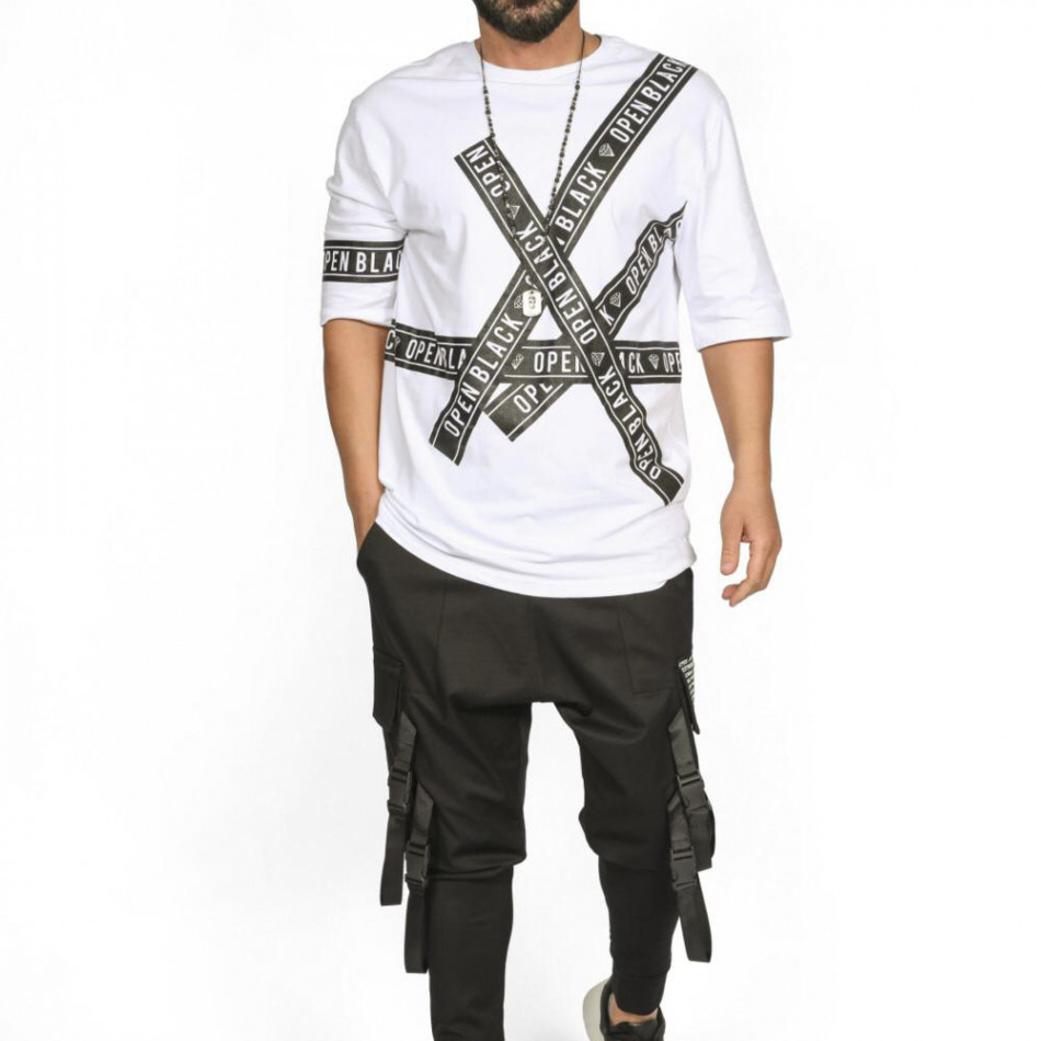 Мъжка бяла тениска с удължени ръкави tr110320-65