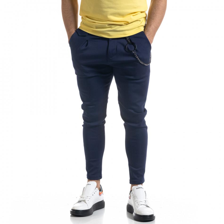 Мъжки син панталон с аксесоар tr110320-119