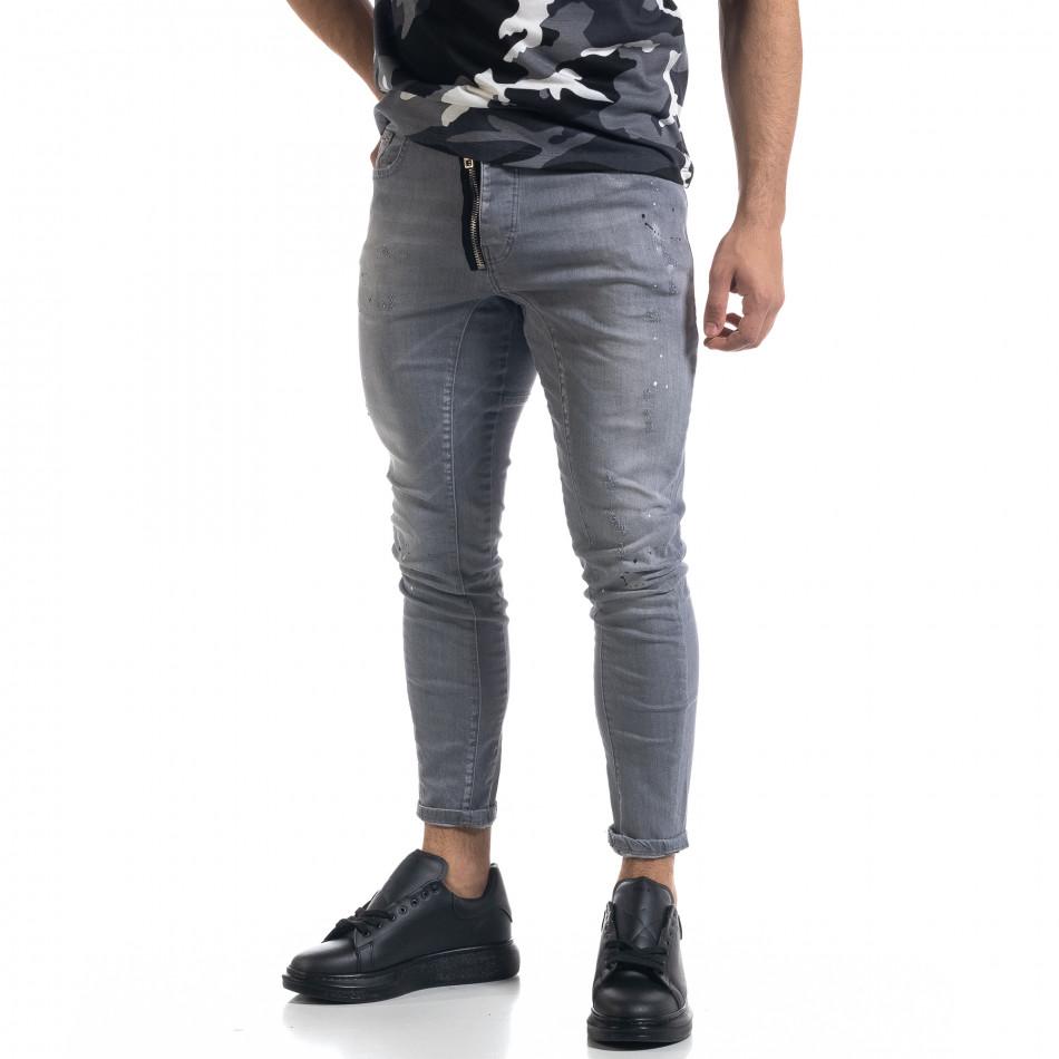 Мъжки сиви дънки Slim fit с пръски боя tr110320-113