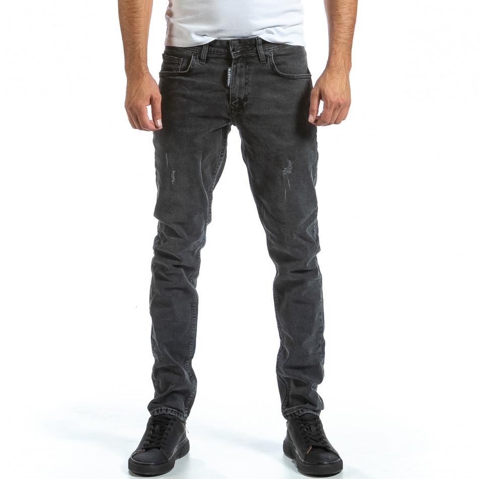 Long Slim мъжки сиви дънки плътен деним tr070921-8