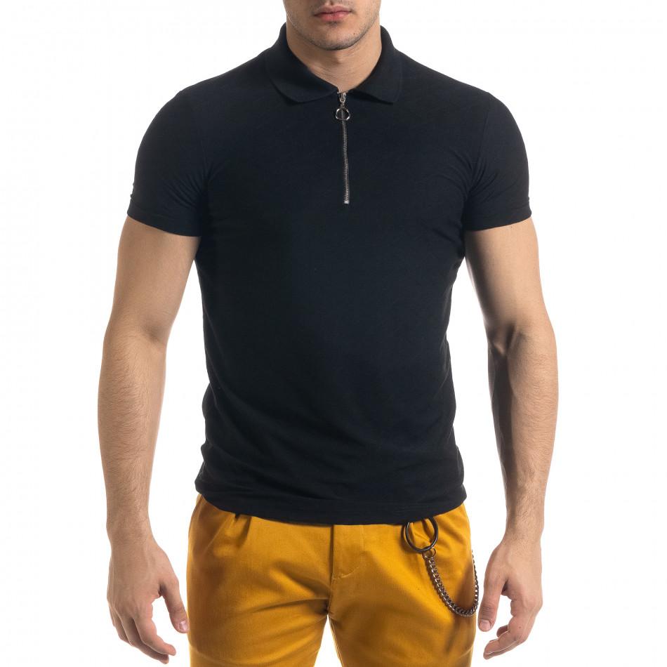 Slim fit черна мъжка тениска с яка и цип tr110320-22