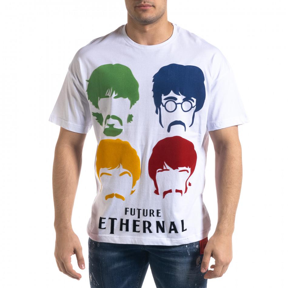 Мъжка бяла тениска The Beatles Oversize  tr110320-3