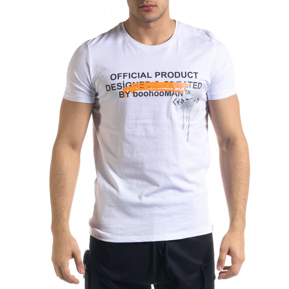 Мъжка бяла тениска с прозрачен джоб tr110320-30