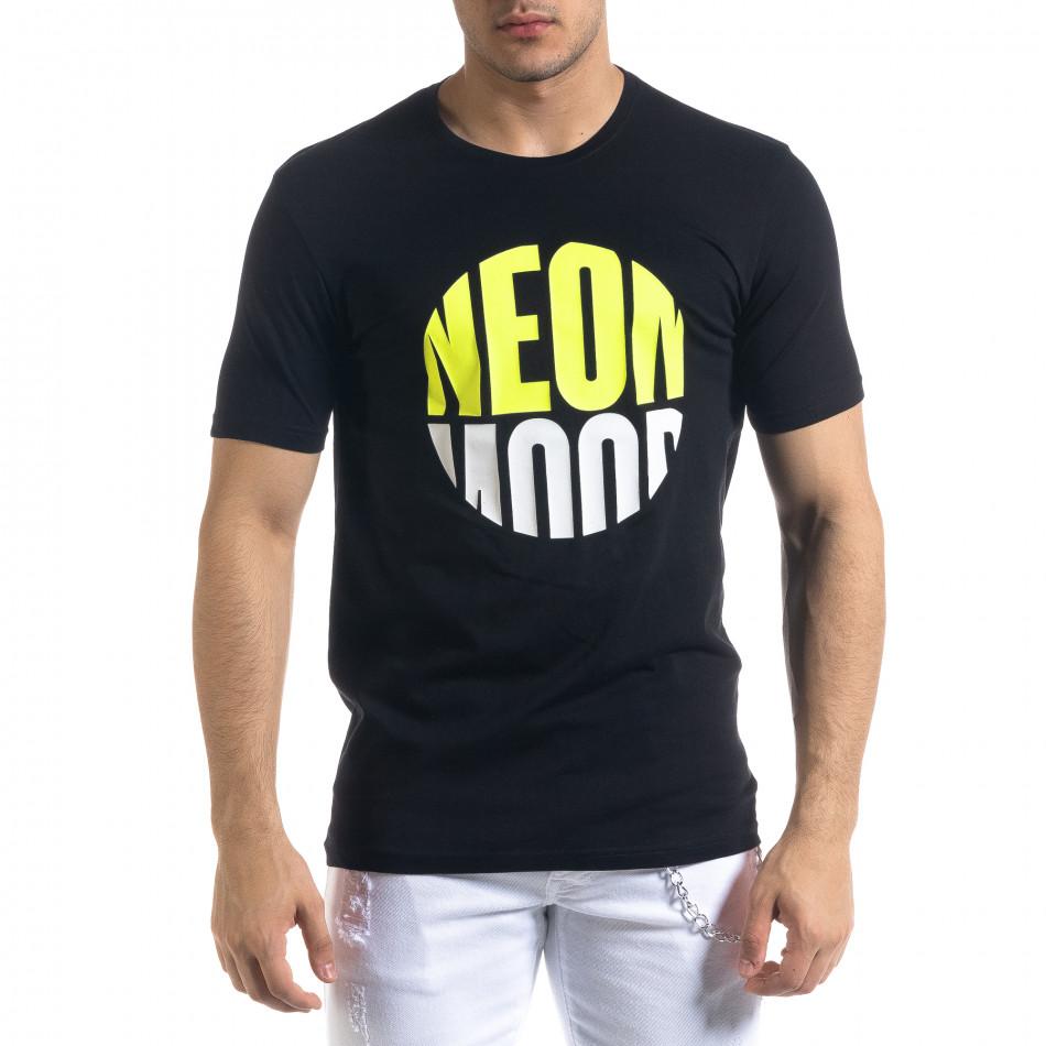 Черна мъжка тениска неонов принт tr110320-42