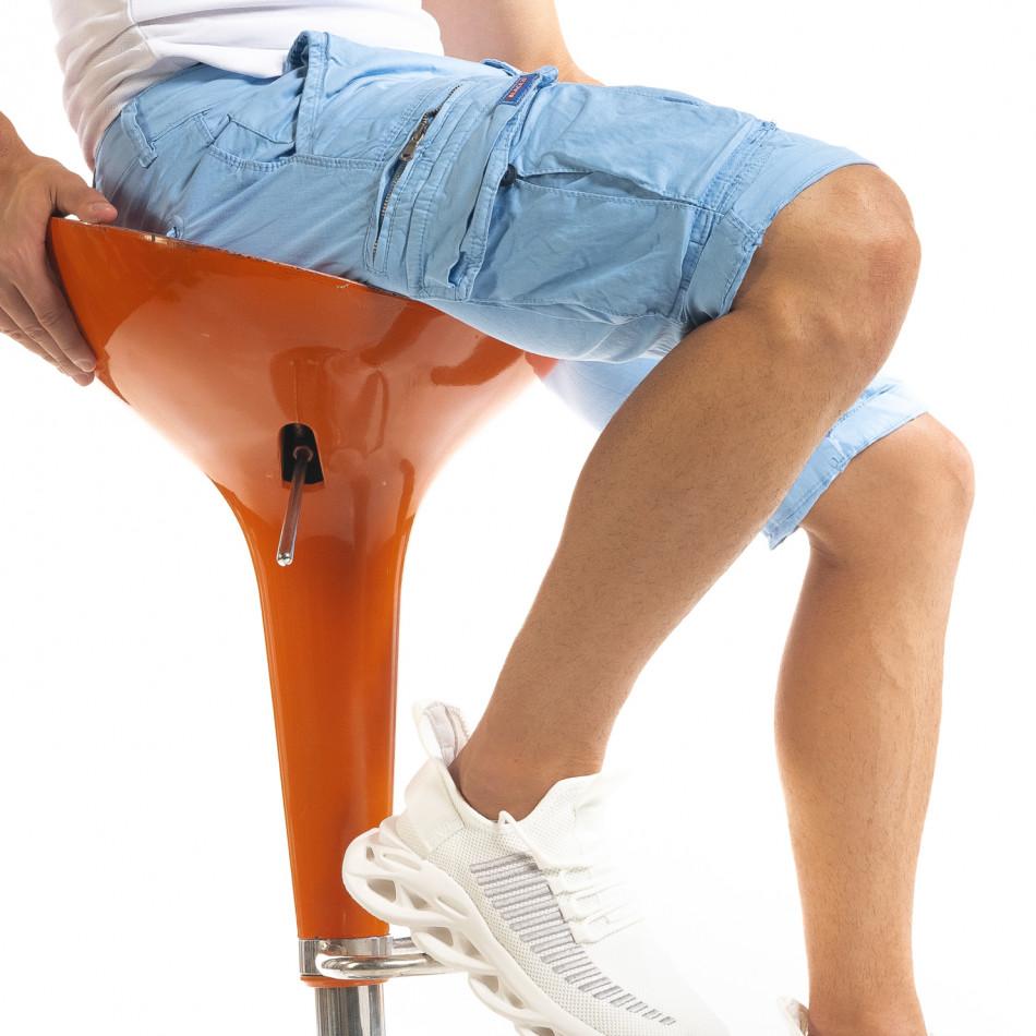 Мъжки сини къси карго панталони tr140520-11