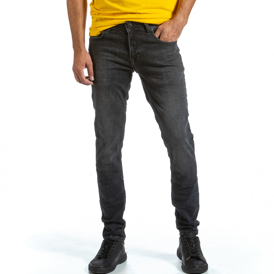 Long Slim черни дънки с избелял ефект tr070921-11