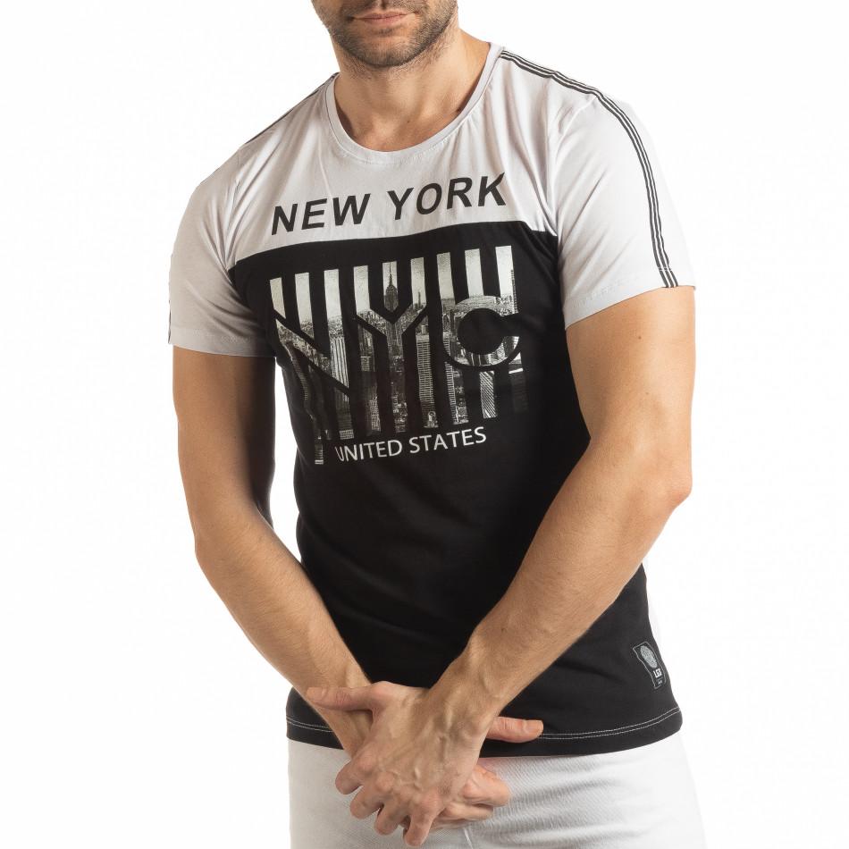 Мъжка черно-бяла тениска New York tsf190219-50