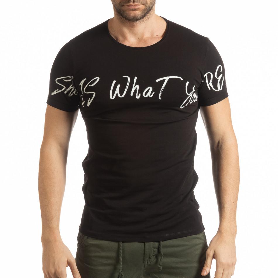 Черна мъжка тениска She Is What tsf190219-65