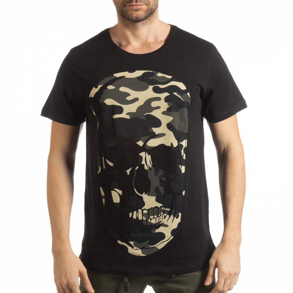 Мъжка черна тениска с камуфлажен череп tsf190219-6