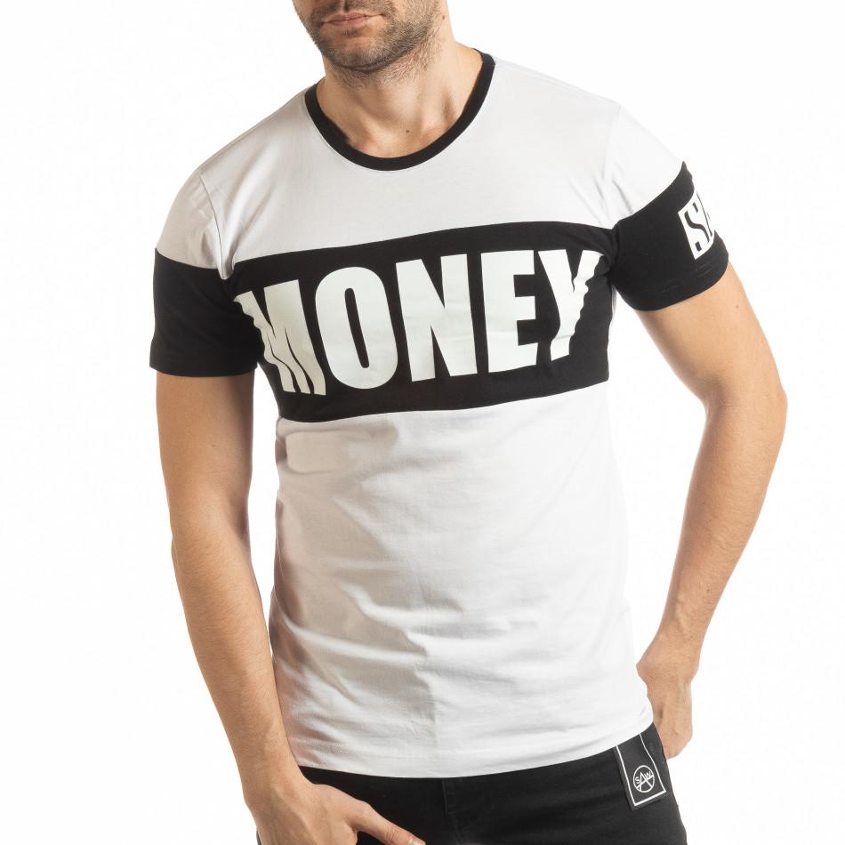 Бяла мъжка тениска Money tsf190219-41
