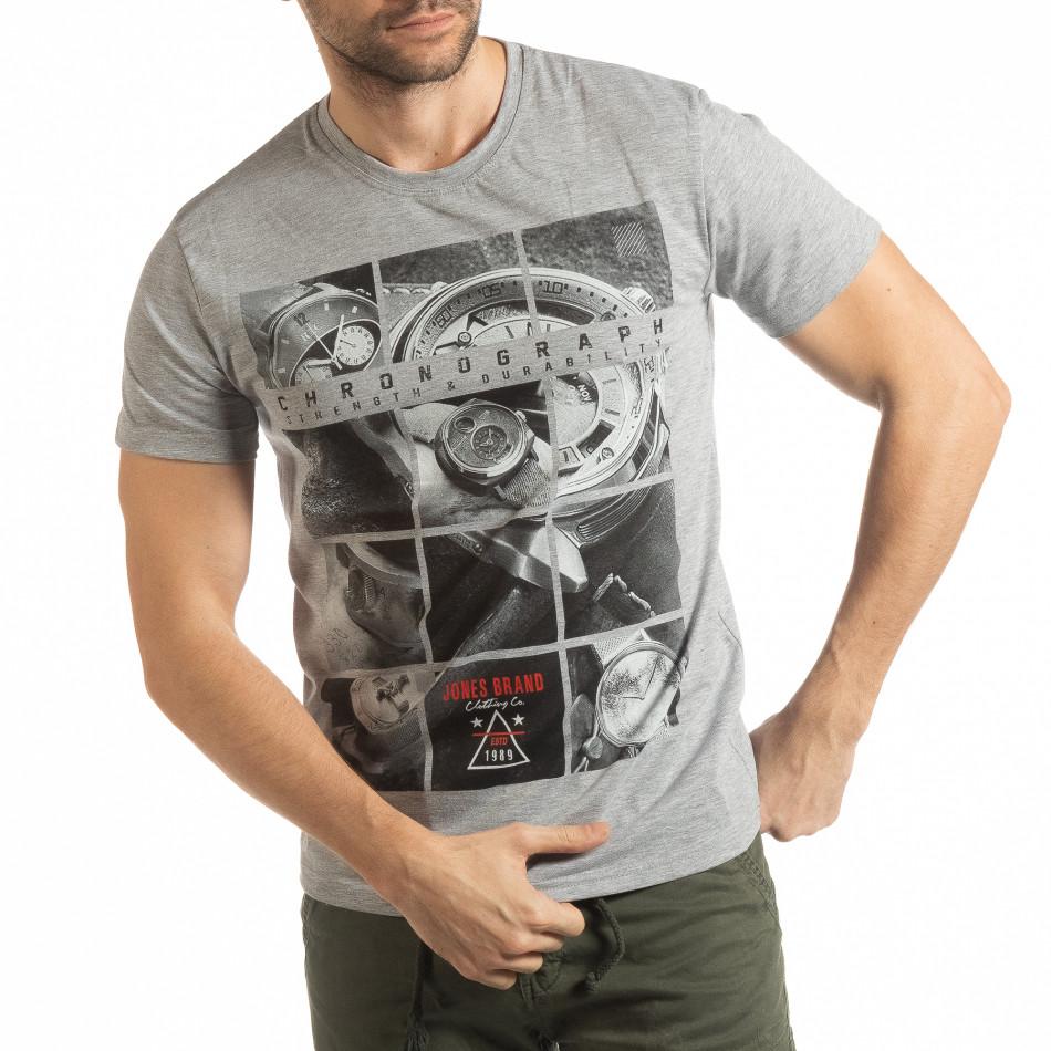 Мъжка сива тениска Chronograph tsf190219-77