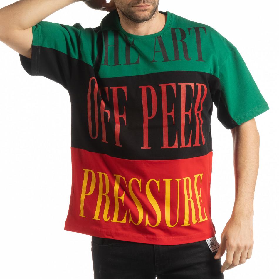 Мъжка тениска в зелено, черно и червено tsf190219-30