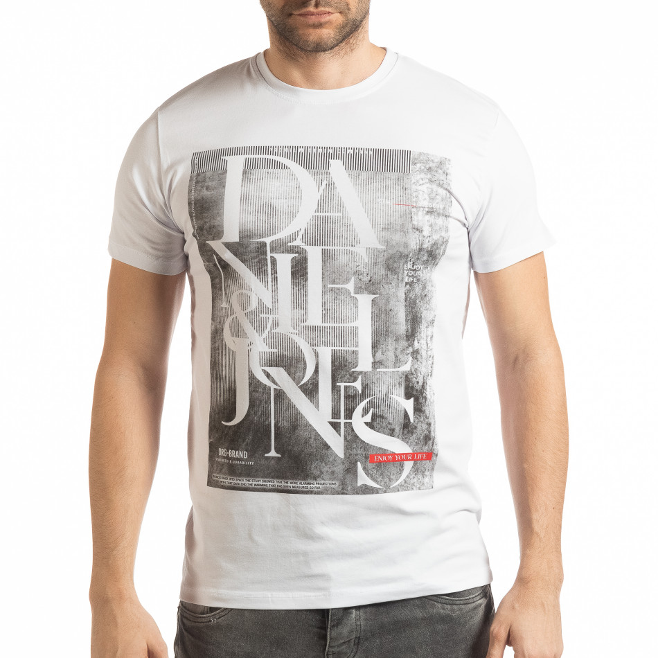 Мъжка тениска Denim Company в бяло tsf190219-85