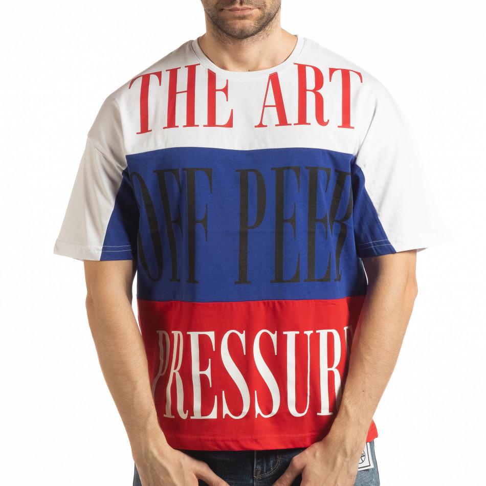 Мъжка тениска в бяло, синьо и червено tsf190219-28