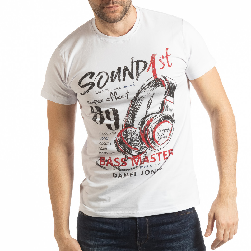 Мъжка бяла тениска Sound tsf190219-69