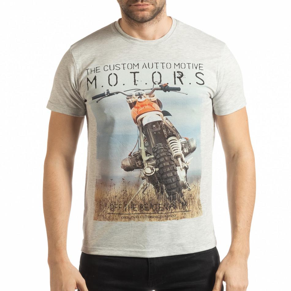 Мъжка рокерска тениска в сив меланж tsf190219-71