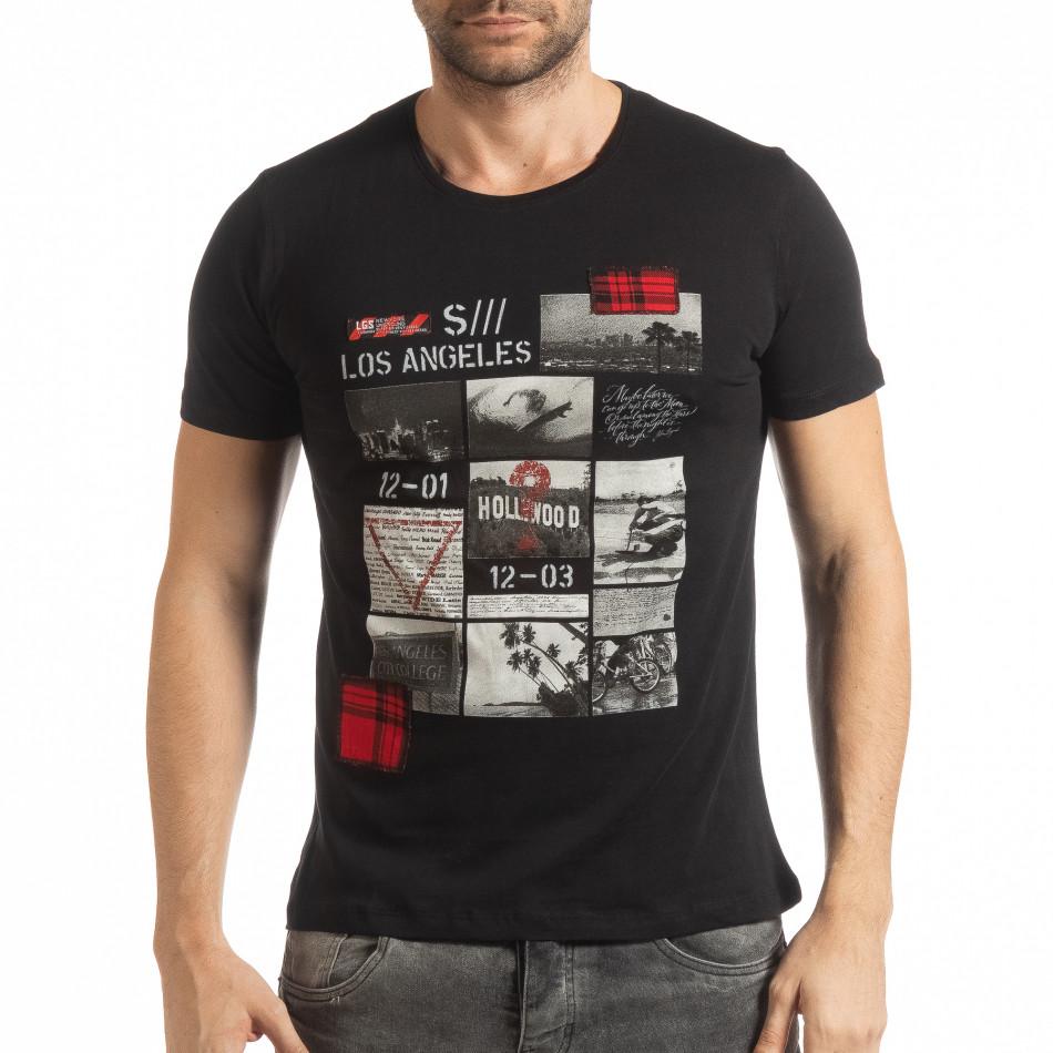 Мъжка тениска стил Patchwork в черно tsf190219-56