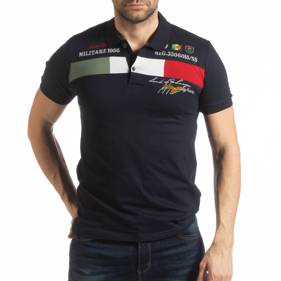 Мъжка тениска пике с акценти в тъмносиньо tsf190219-94