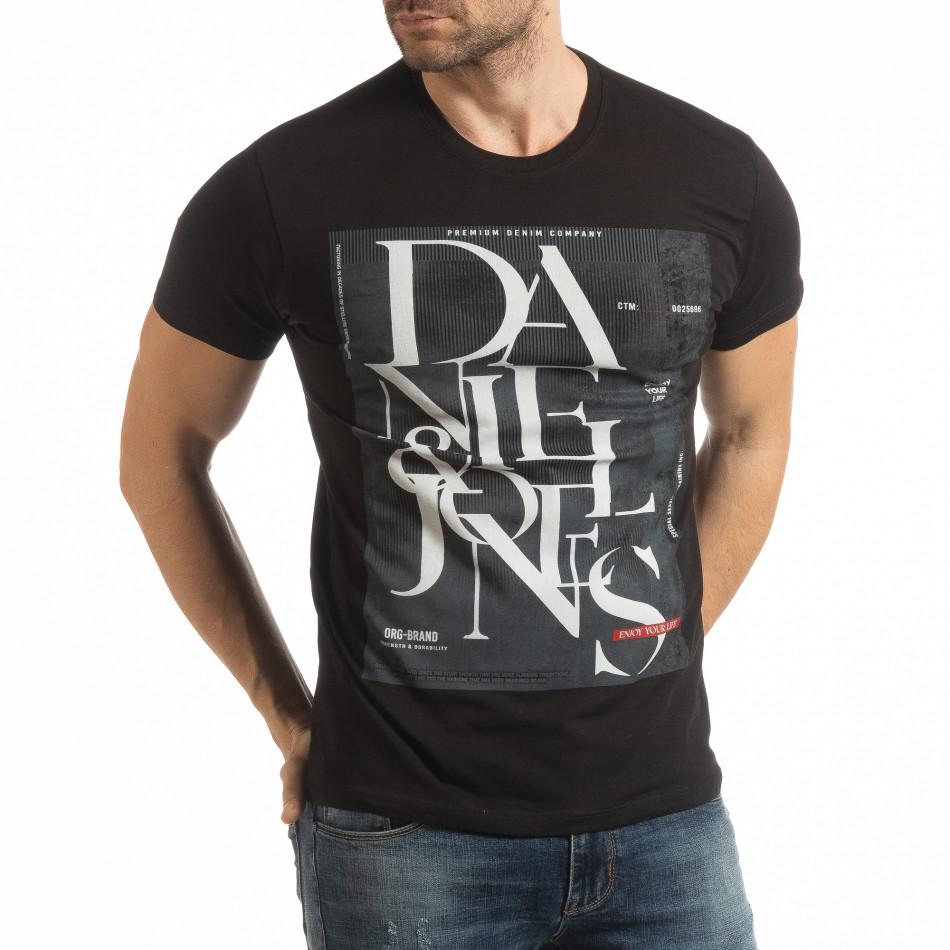 Мъжка тениска Denim Company в черно tsf190219-86