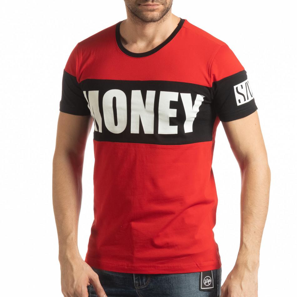 Червена мъжка тениска Money tsf190219-43