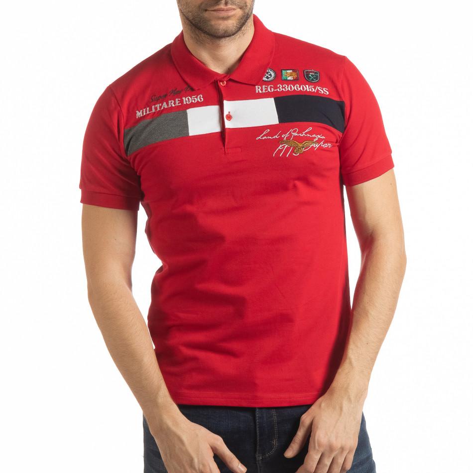 Мъжка тениска пике с акценти в червено tsf190219-92