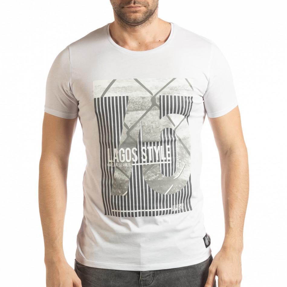 Бяла мъжка тениска с принт Lagos Style tsf190219-55