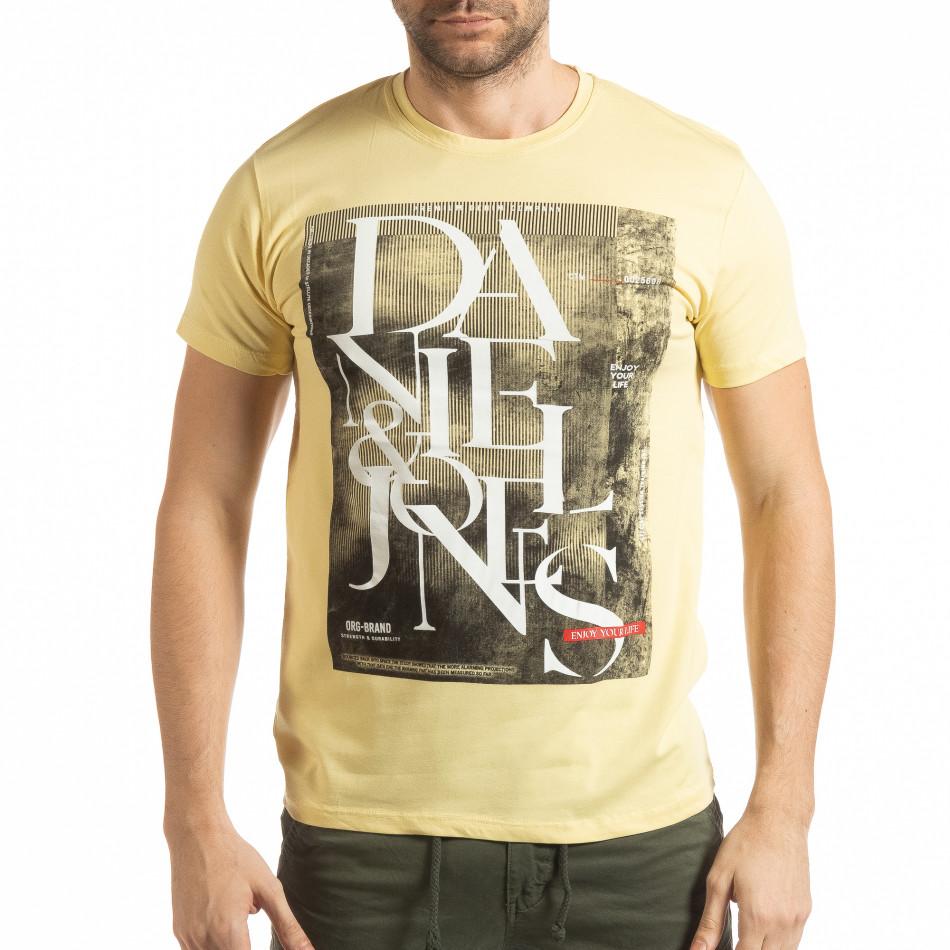 Мъжка тениска Denim Company в жълто tsf190219-87