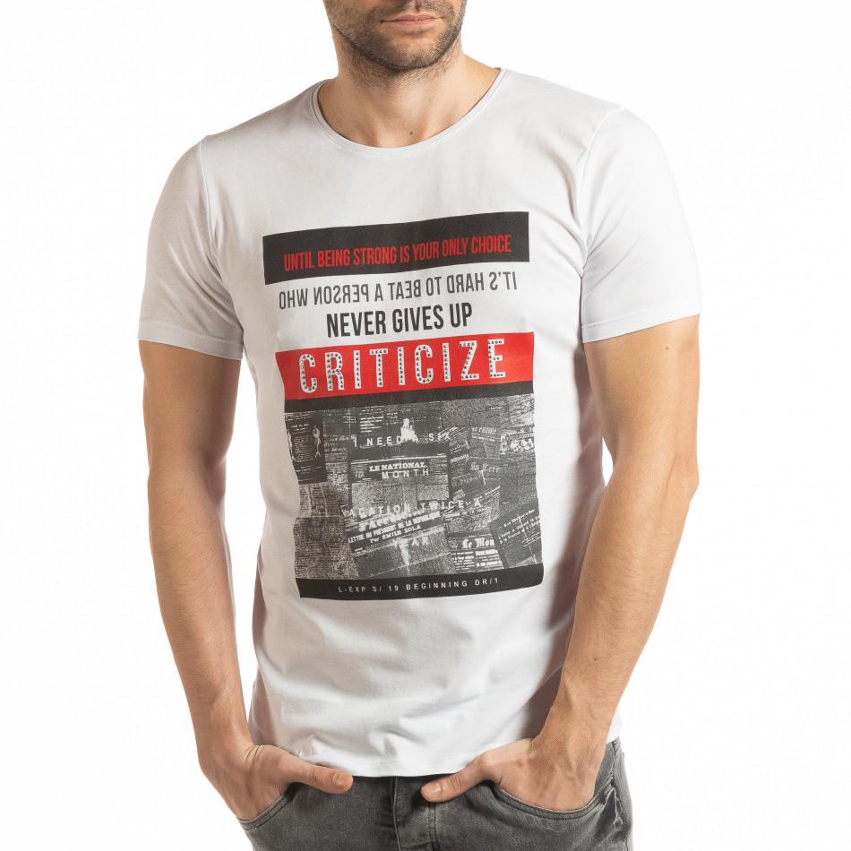 Бяла мъжка тениска Criticize tsf190219-63