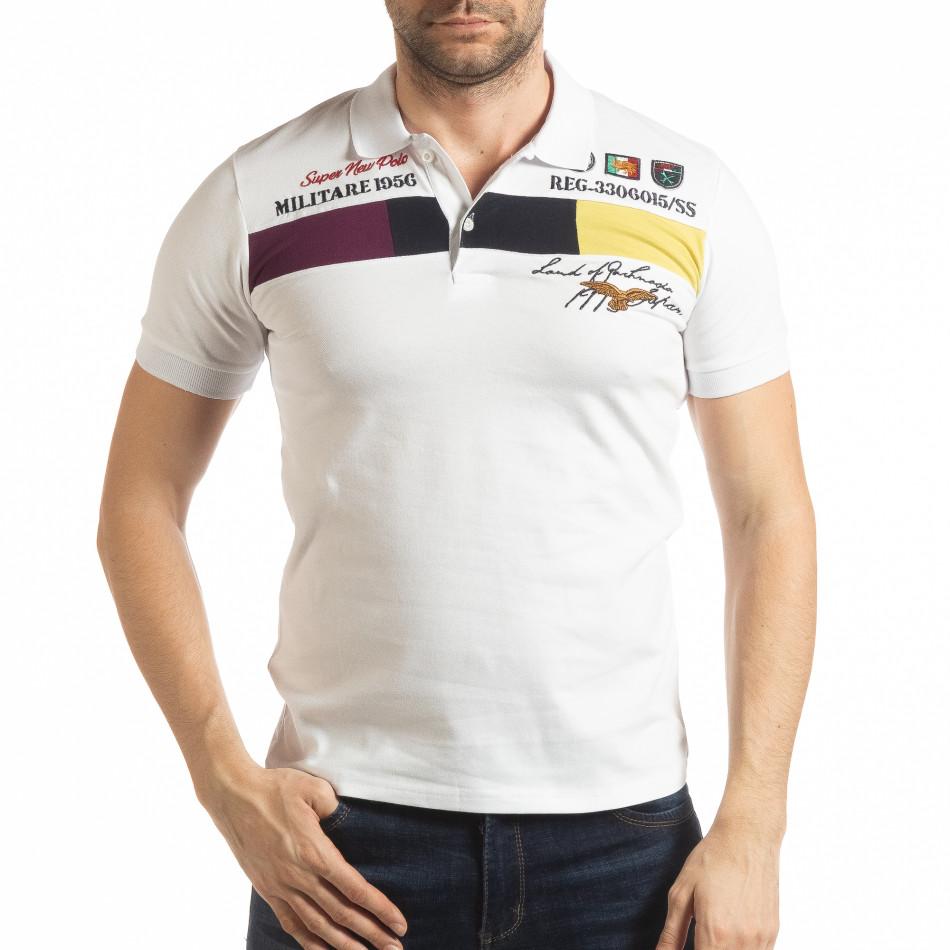 Мъжка тениска пике с акценти в бяло tsf190219-93
