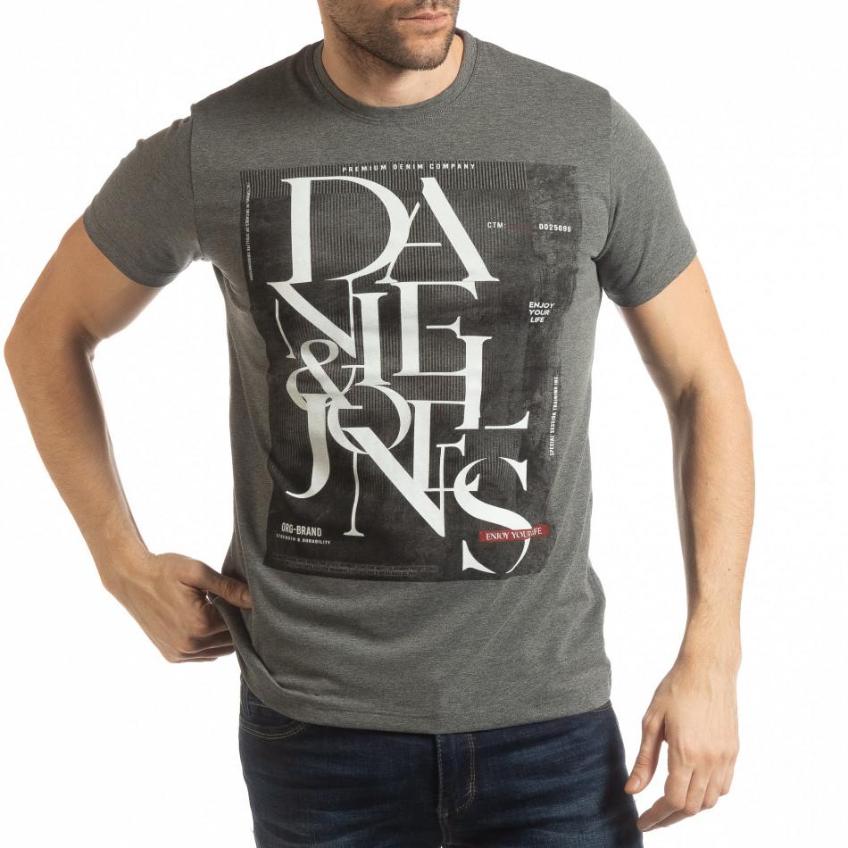 Мъжка тениска Denim Company сив меланж tsf190219-84