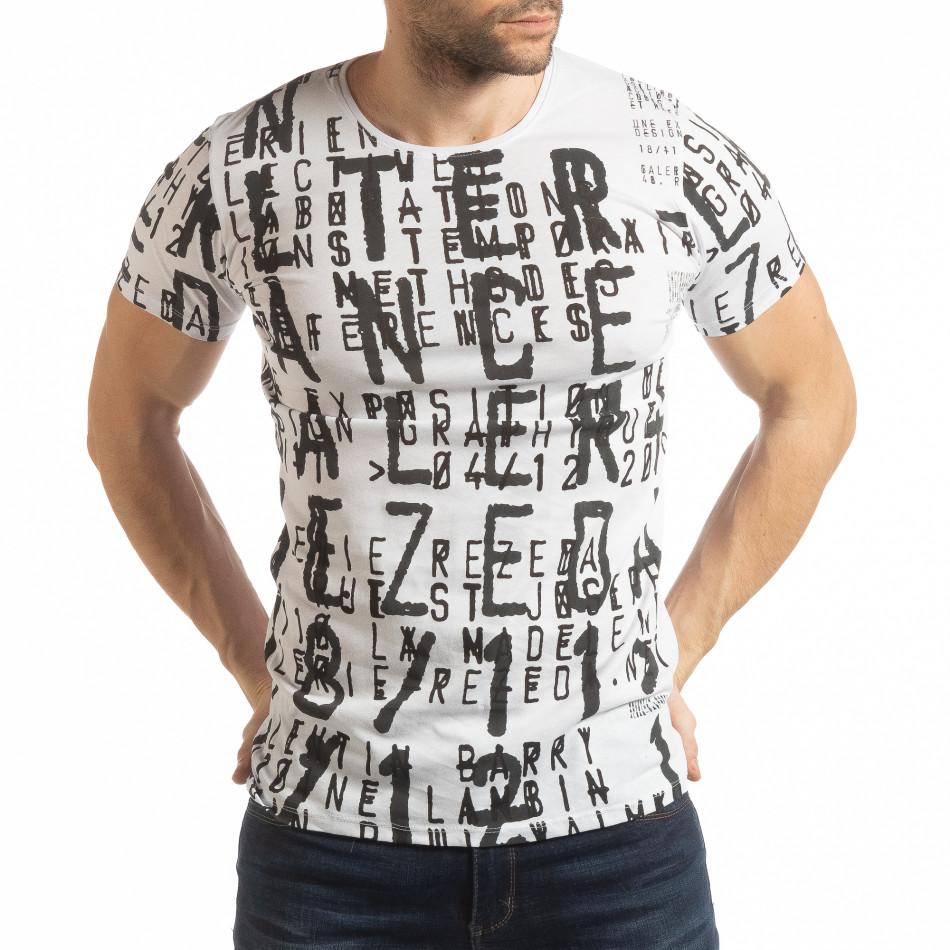 Бяла мъжка тениска с надписи tsf190219-12