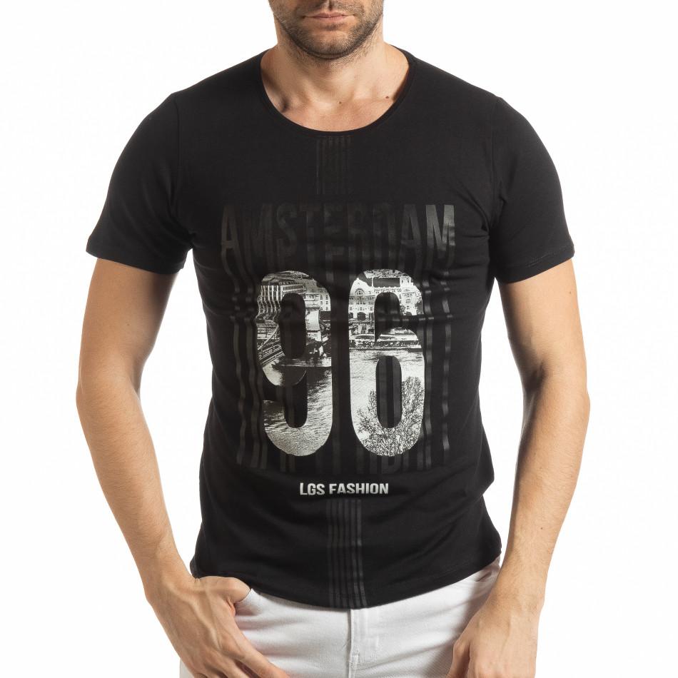 Мъжка черна тениска Amsterdam 96 tsf190219-1